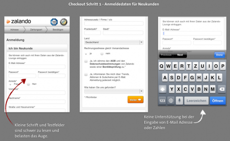 Mobile Checkout - Zalando Adressdaten