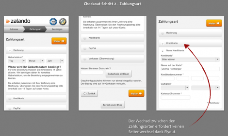 Mobile Checkout - Zalando Zahlweise